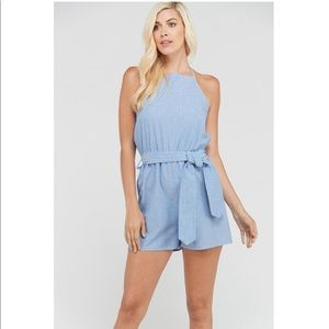 New 2HEARTS Striped Halter Belted Romper
